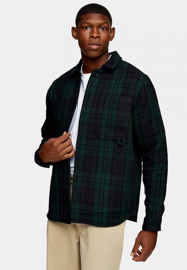 мужская рубашка с длинным рукавом topman, зеленая