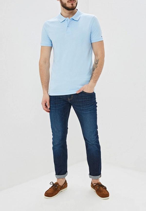 Фото 2 - мужское поло Tommy Hilfiger голубого цвета