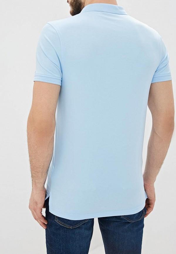 Фото 3 - мужское поло Tommy Hilfiger голубого цвета