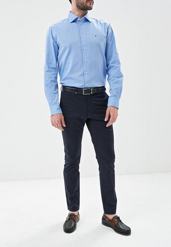 Фото 2 - мужскую рубашку Tommy Hilfiger голубого цвета