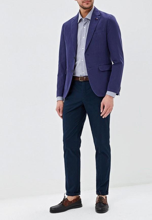 Фото 2 - мужской пиджак Tommy Hilfiger синего цвета