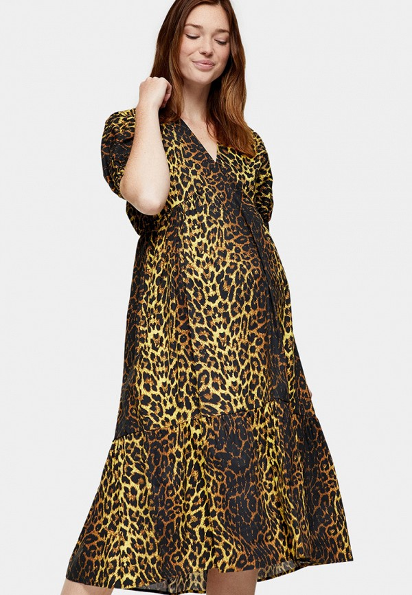 женское повседневные платье topshop maternity, коричневое