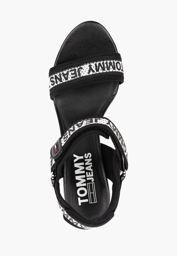 Фото 4 - женские босоножки Tommy Jeans черного цвета
