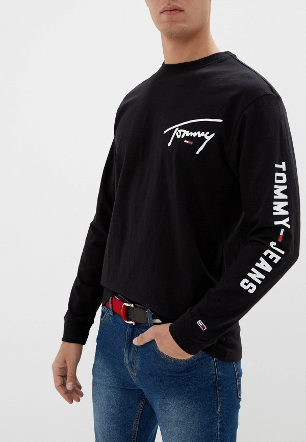 мужской лонгслив tommy jeans, черный