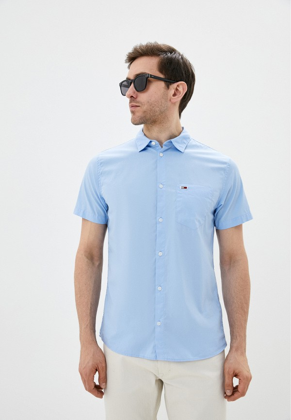 мужская рубашка с коротким рукавом tommy jeans, голубая