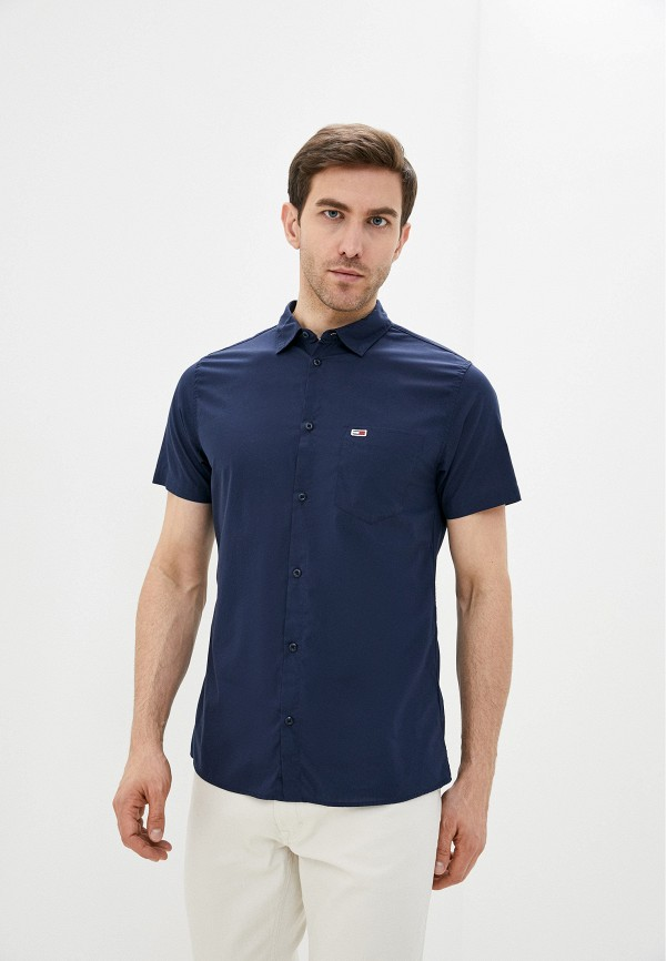 мужская рубашка с коротким рукавом tommy jeans, синяя