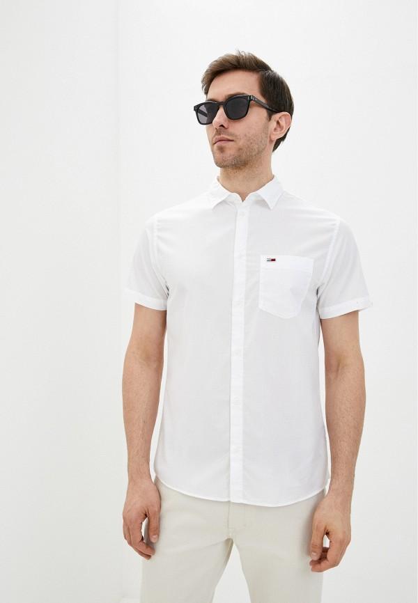 мужская рубашка с коротким рукавом tommy jeans, белая