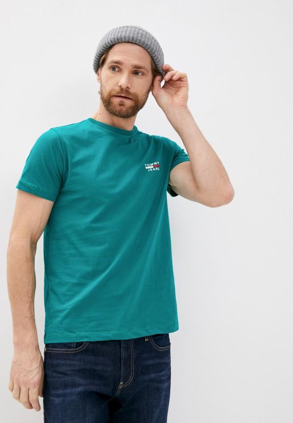 мужская футболка с коротким рукавом tommy jeans, зеленая