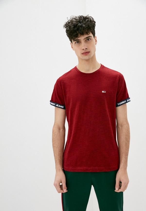 мужская футболка с коротким рукавом tommy jeans, бордовая