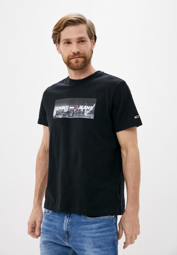 мужская футболка с коротким рукавом tommy jeans, черная
