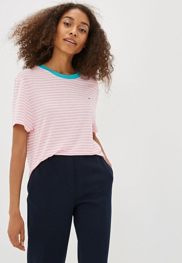 женская футболка tommy jeans, розовая
