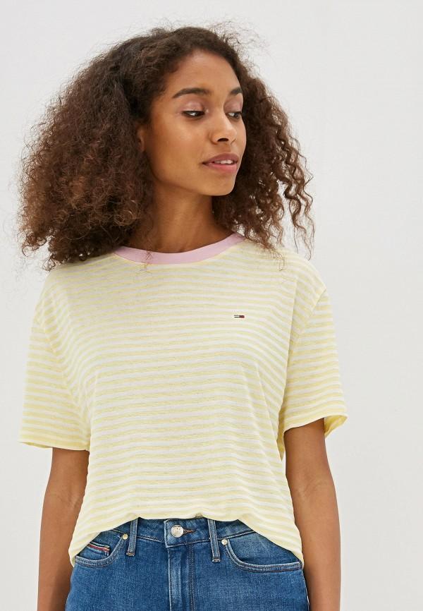женская футболка tommy jeans, желтая