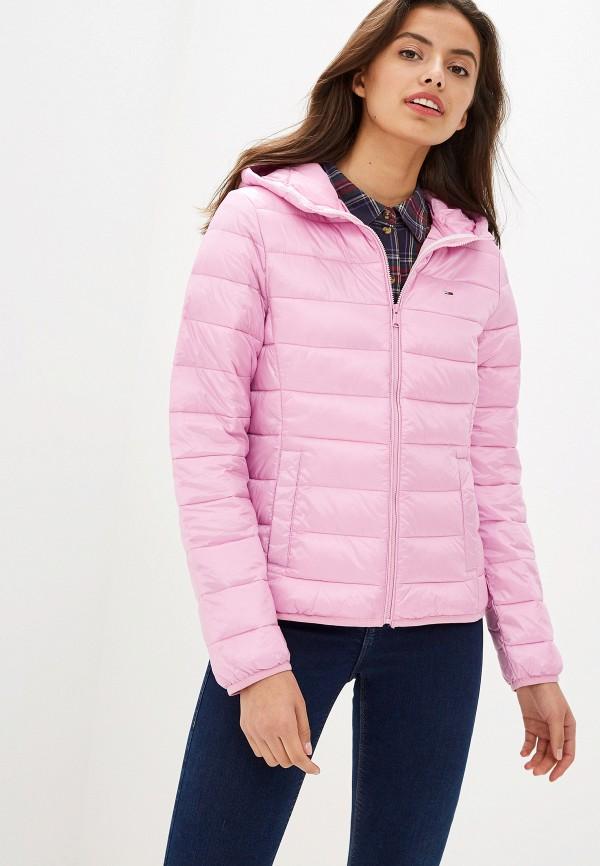 женская куртка tommy jeans, розовая