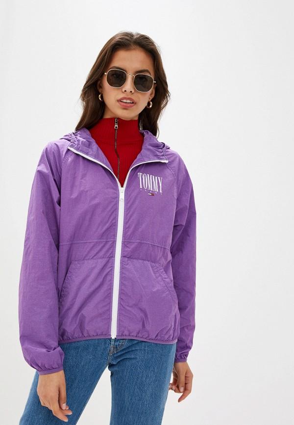 женская куртка tommy jeans, фиолетовая