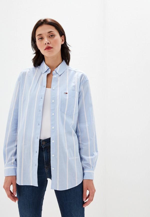 женская рубашка с длинным рукавом tommy jeans, голубая