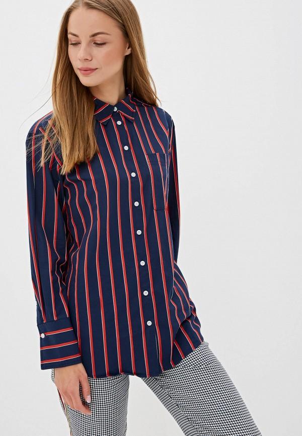 женская рубашка с длинным рукавом tommy jeans, синяя