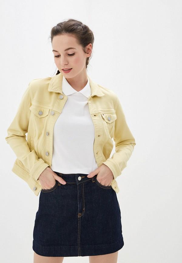 женская джинсовые куртка tommy jeans, желтая