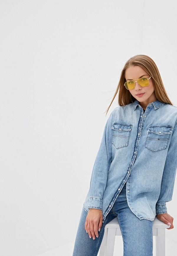 женская джинсовые рубашка tommy jeans, голубая