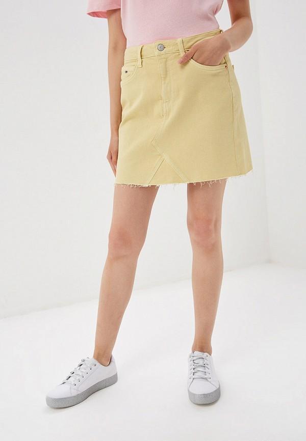 женская джинсовые юбка tommy jeans, желтая