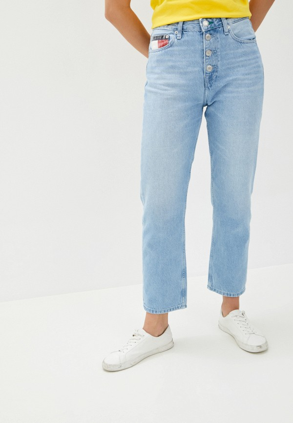 женские джинсы бойфренд tommy jeans, голубые