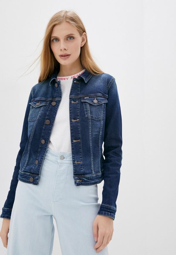 женская джинсовые куртка tommy jeans, синяя