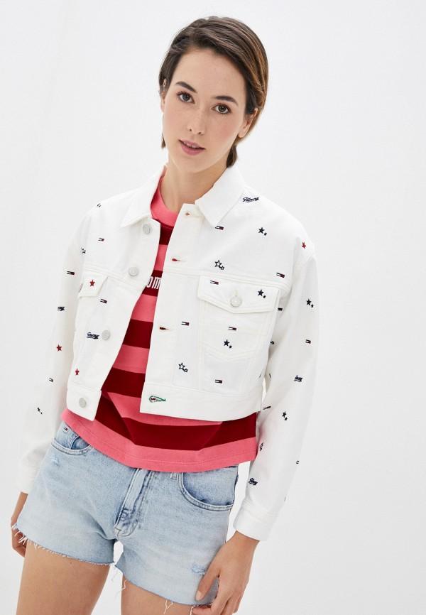 женская джинсовые куртка tommy jeans, белая