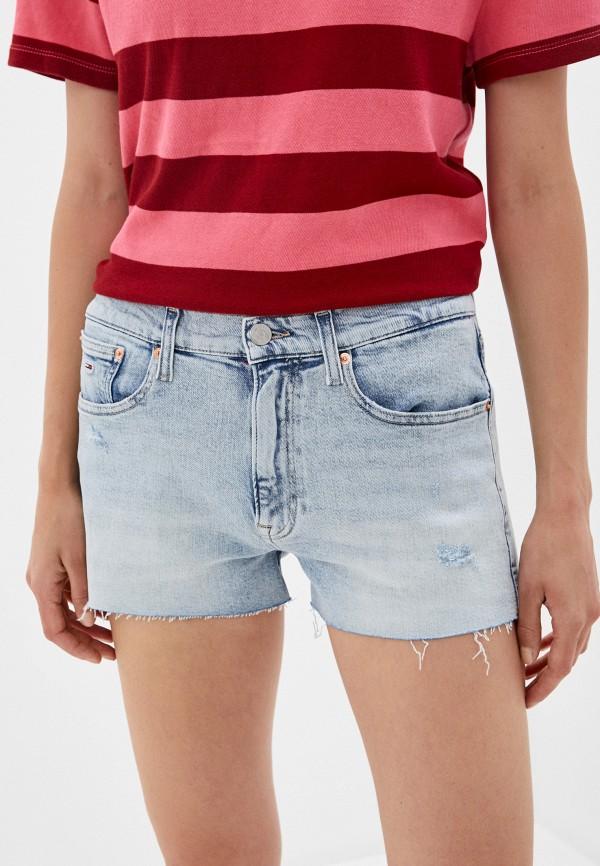 женские джинсовые шорты tommy jeans, голубые