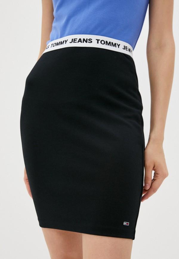 женская зауженные юбка tommy jeans, черная