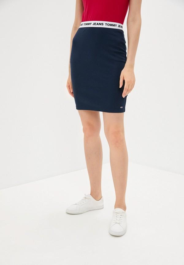 женская зауженные юбка tommy jeans, синяя