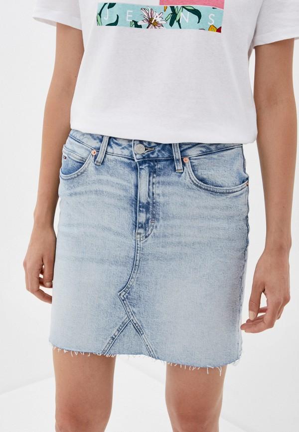 женская джинсовые юбка tommy jeans, голубая