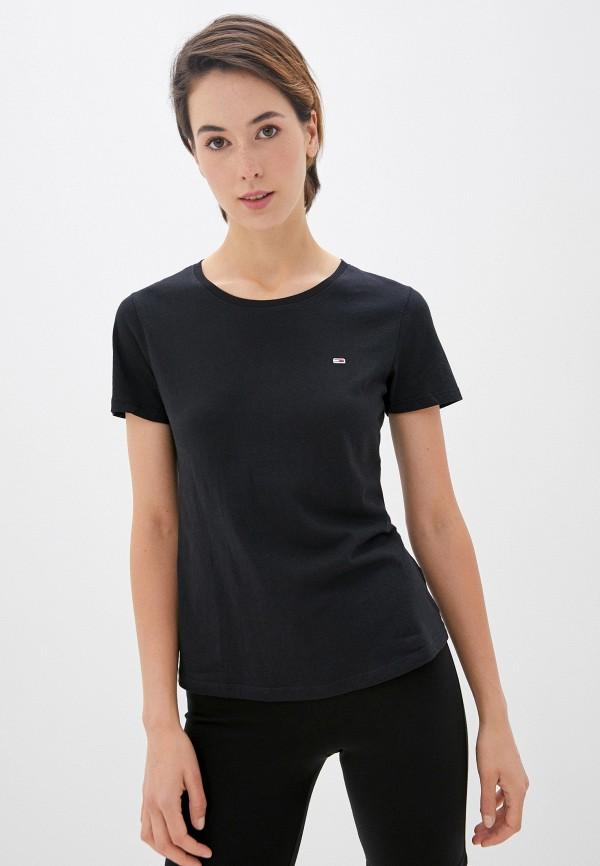 женская футболка tommy jeans, черная