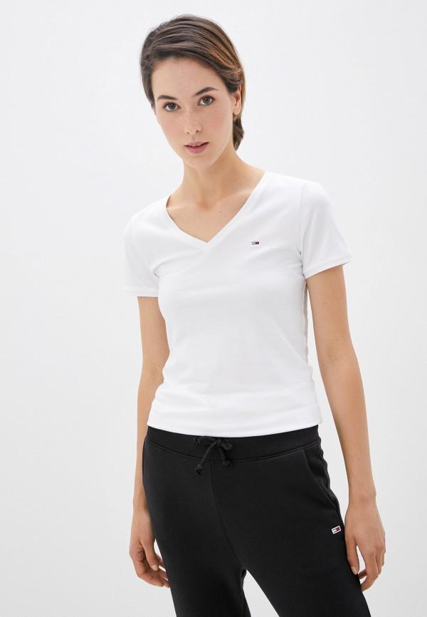 женская футболка tommy jeans, белая