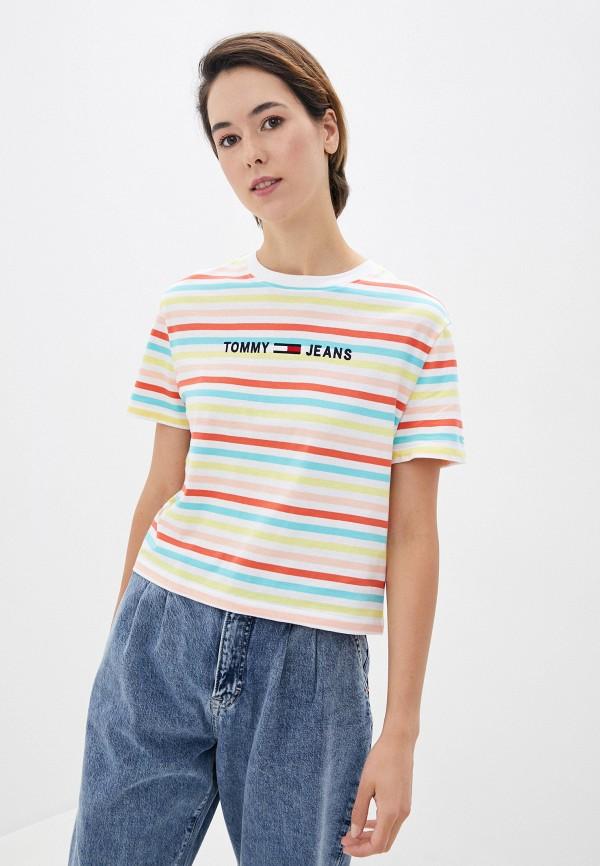 женская футболка tommy jeans, разноцветная