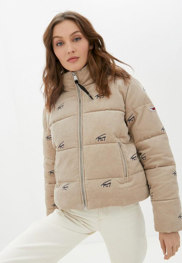 женская куртка tommy jeans, бежевая