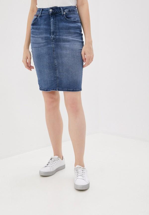 женская джинсовые юбка tommy jeans, синяя