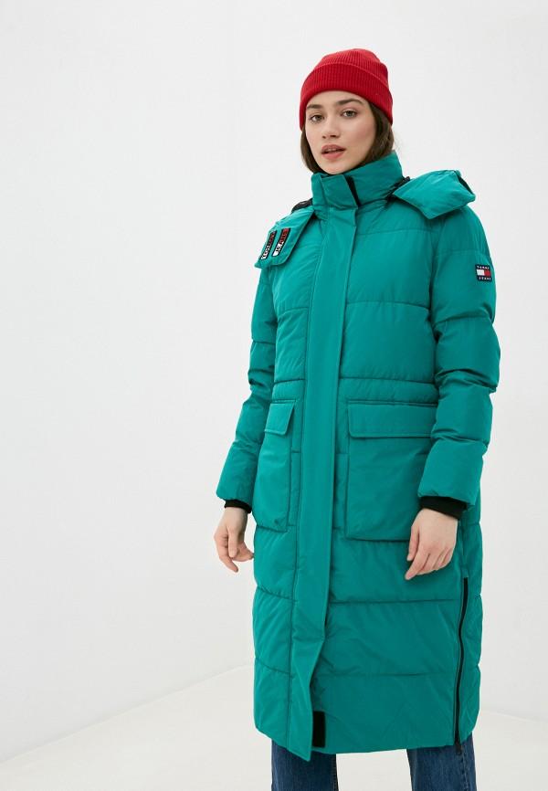 женская куртка tommy jeans, зеленая