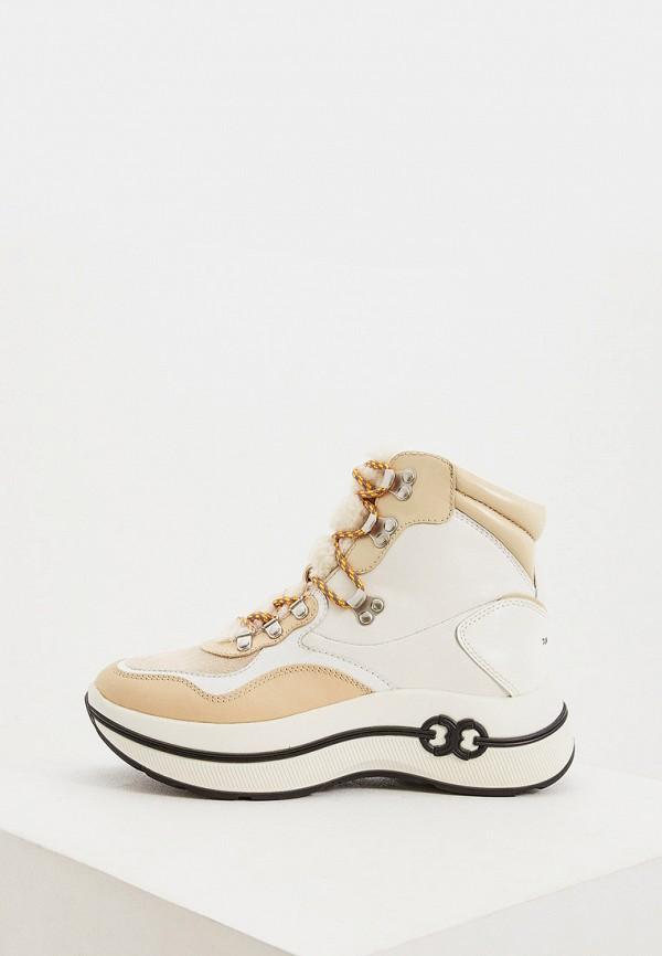 женские высокие ботинки tory burch, бежевые