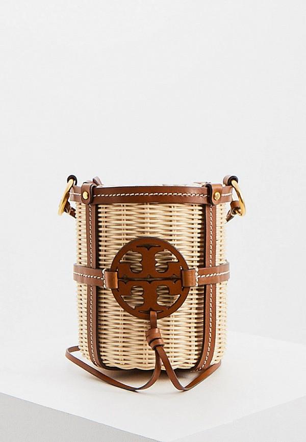 женская сумка tory burch, бежевая