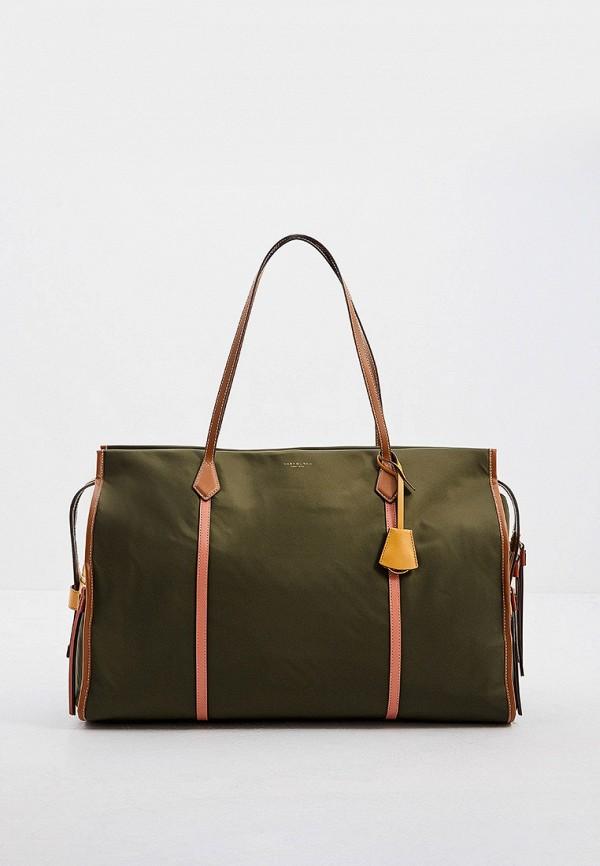женская дорожные сумка tory burch, зеленая