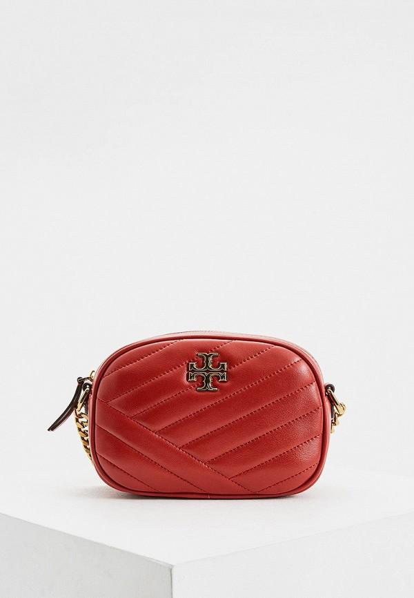 женская сумка через плечо tory burch, красная