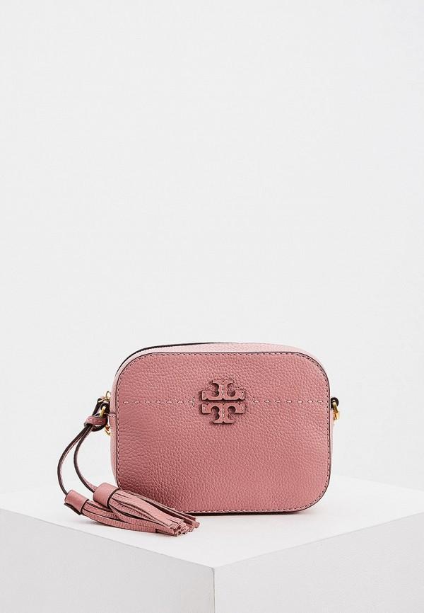 женская сумка через плечо tory burch, розовая