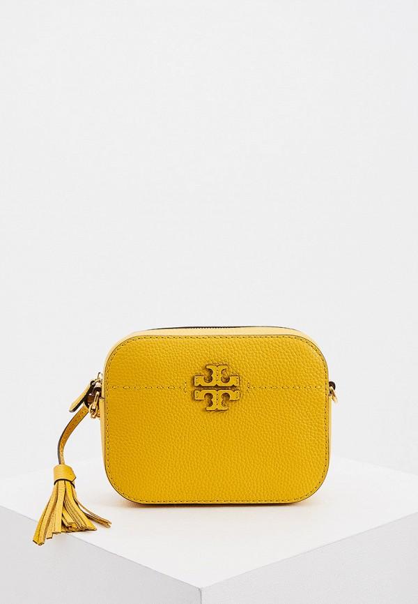 женская сумка через плечо tory burch, желтая