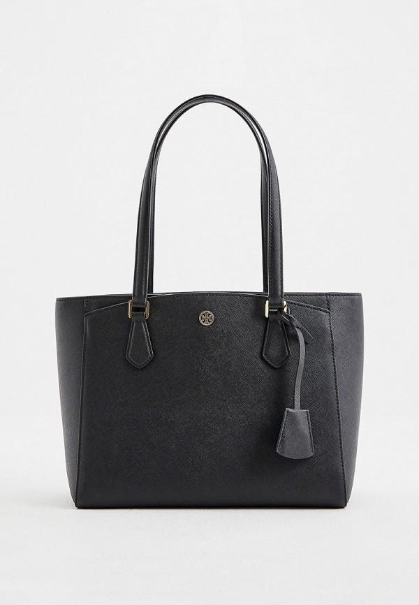 женская сумка с ручками tory burch, черная
