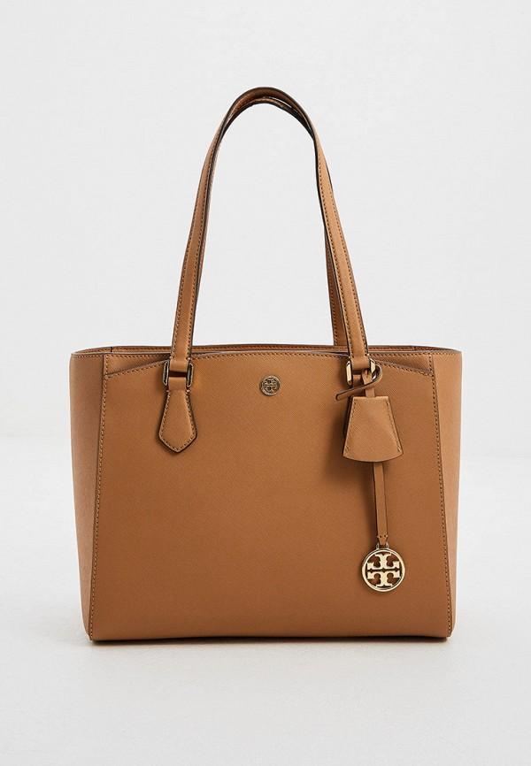 женская сумка с ручками tory burch, коричневая