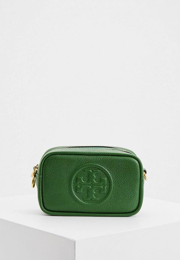 женская сумка через плечо tory burch, зеленая