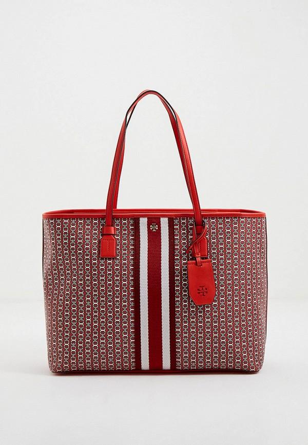 женская сумка с ручками tory burch, красная