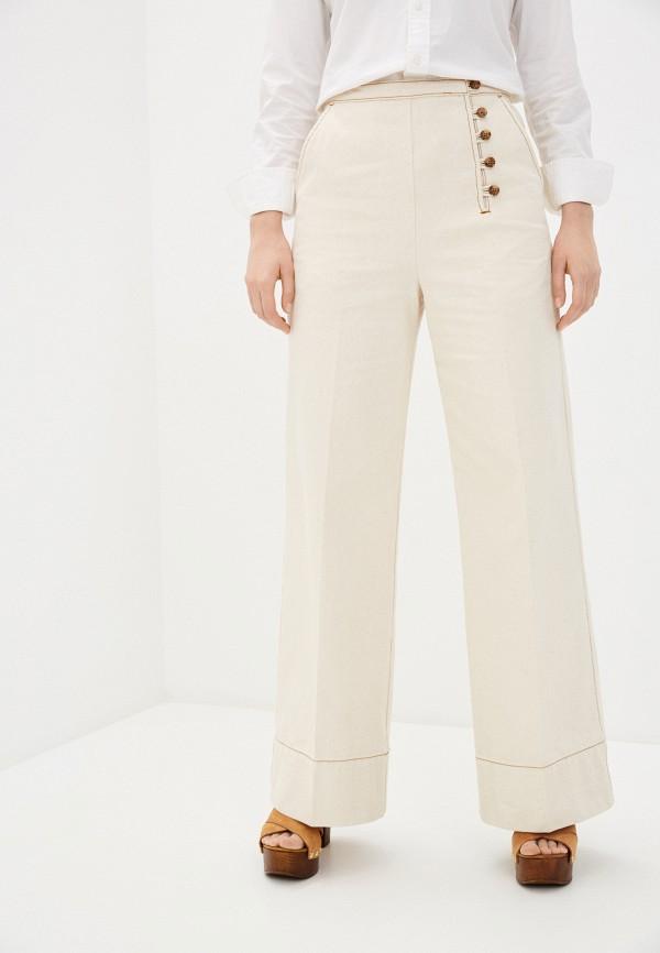 женские повседневные брюки tory burch, бежевые