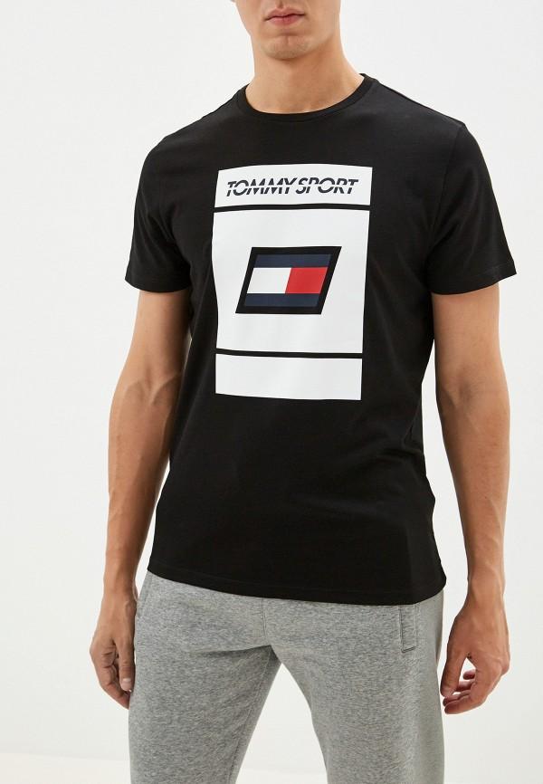 мужская футболка tommy sport, черная
