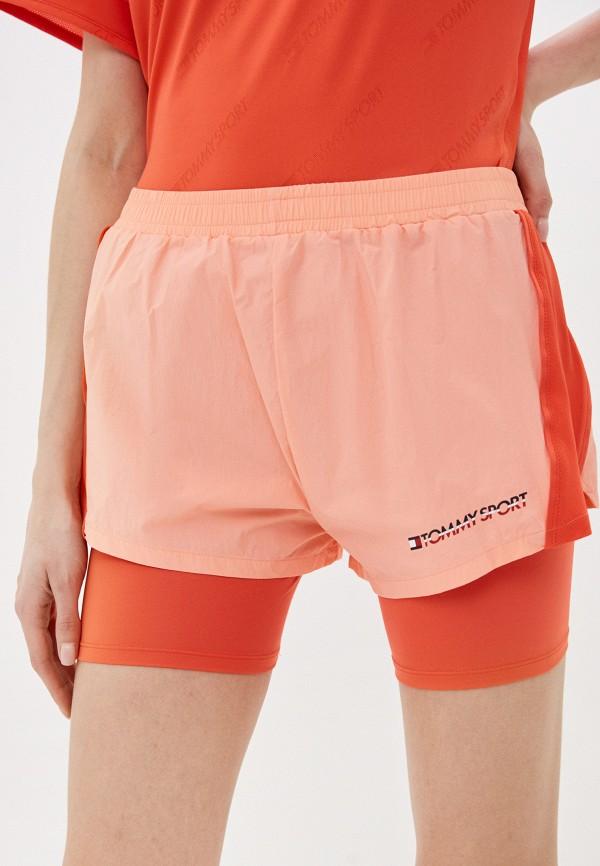женские спортивные шорты tommy sport, оранжевые