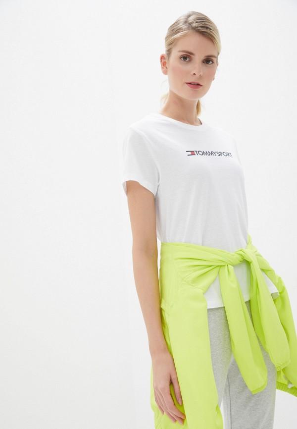 женская футболка tommy sport, белая